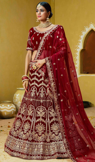 Maroon Color Embroidered Velvet Lehenga Choli