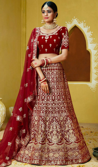 Velvet Maroon Color Embroidered Choli Skirt