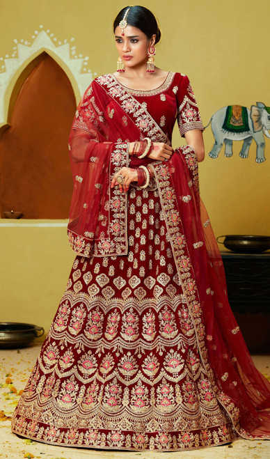 Embroidered Velvet Lahenga Choli in Maroon Color