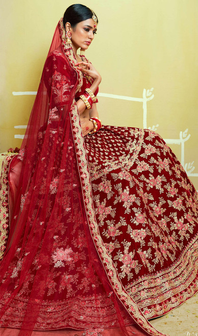 Lehenga Choli in Maroon Color Embroidered Velvet