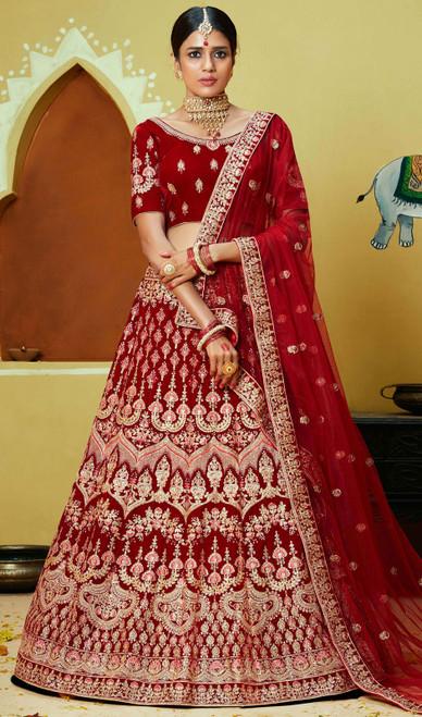 Embroidered Velvet Choli Skirt in Maroon Color