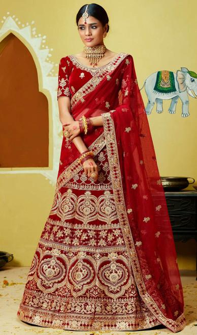 Lahenga Choli in Maroon Color Embroidered Velvet