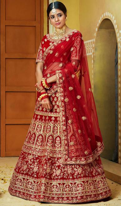 Choli Skirt, Velvet Fabric in Maroon Color Shaded