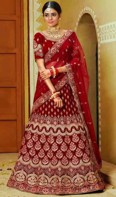 Lehenga Choli, Velvet Fabric in Maroon Color Shaded