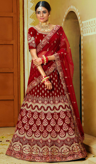 Lehenga Choli, Velvet Fabric in Maroon Color Shaded