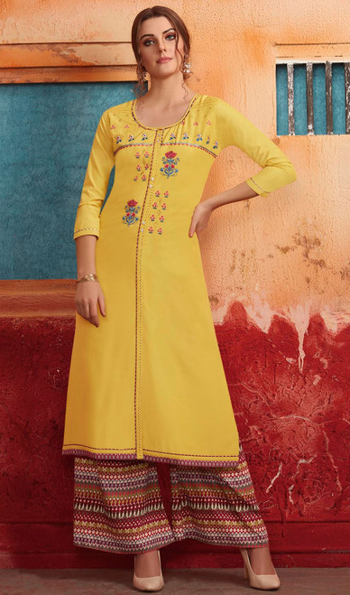 Yellow Color Shaded Maslin Tunic