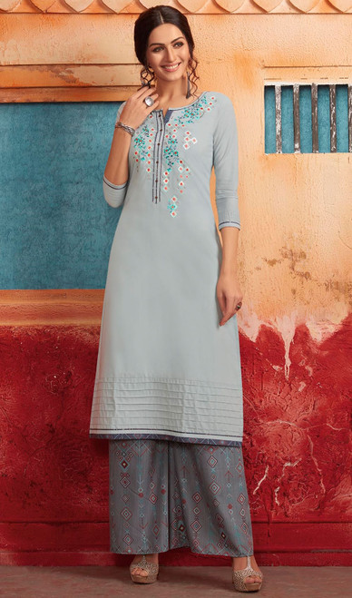 Sky Blue Color Shaded Maslin Tunic