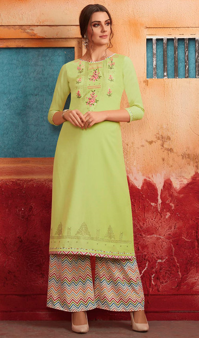 Green Color Shaded Maslin Tunic