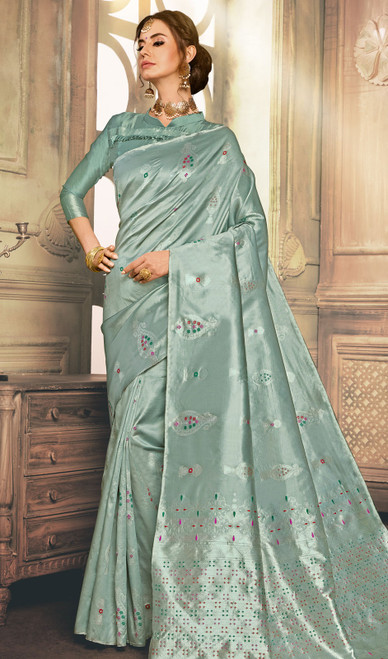 Cyan Color Shaded Kanjivaram Art Silk Sari