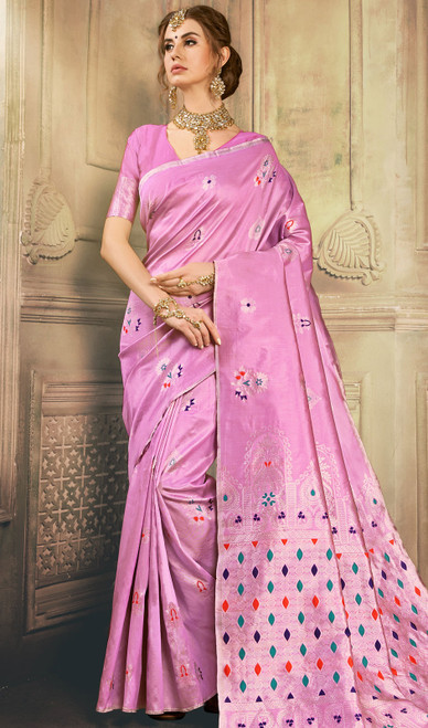 Pink Color Kanjivaram Art Silk Sari