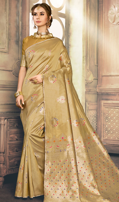 Beige Color Shaded Kanjivaram Art Silk Sari