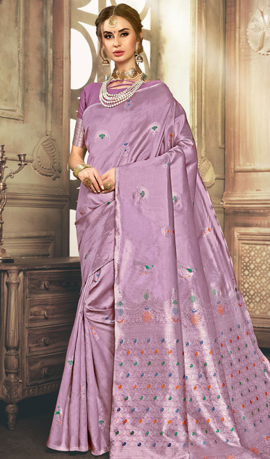 Lavender Color Shaded Kanjivaram Art Silk Sari