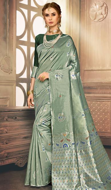 Green Color Shaded Kanjivaram Art Silk Sari