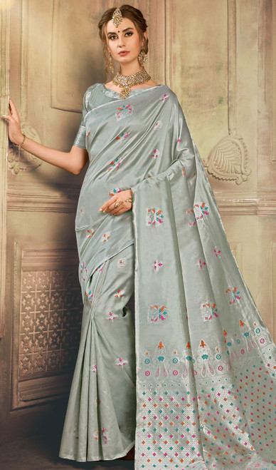 Gray Color Shaded Kanjivaram Art Silk Sari