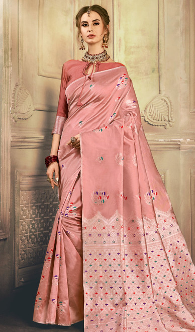 Peach Color Shaded Kanjivaram Art Silk Sari
