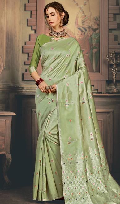 Kanjivaram Art Silk Sari in Green Color Shaded