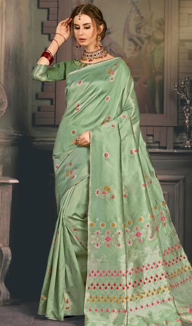 Green Color Kanjivaram Art Silk Sari