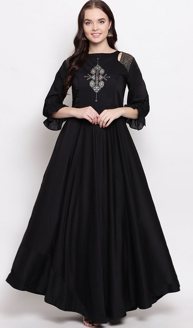 Black Color Embroidered Maslin Gown
