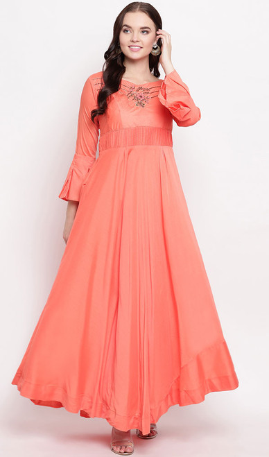 Peach Color Maslin Embroidered Gown