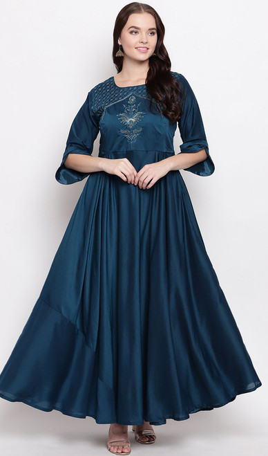 Navy Blue Color Shaded Maslin Gown