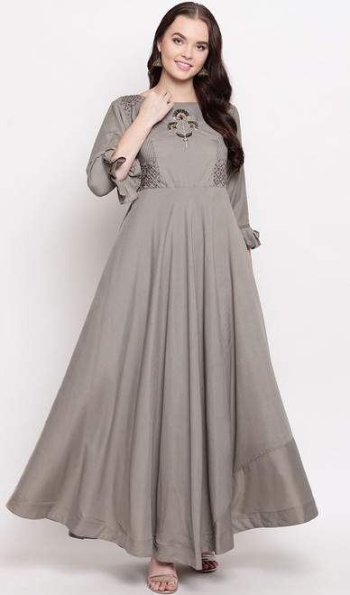 Gray Color Embroidered Maslin Gown