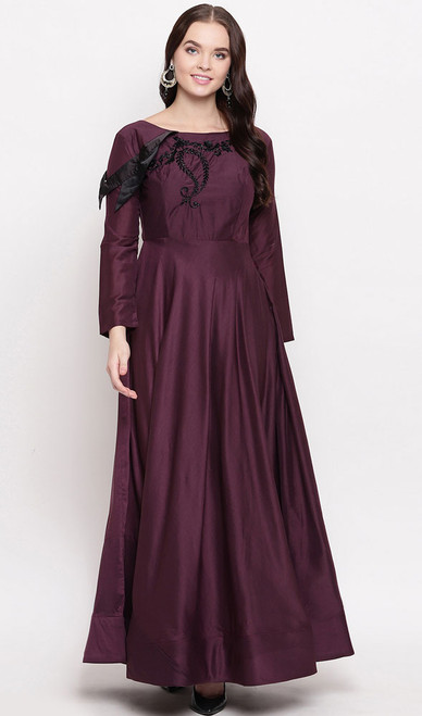 Wine Color Embroidered Maslin Gown