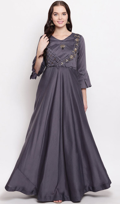 Gray Color Maslin Embroidered Gown