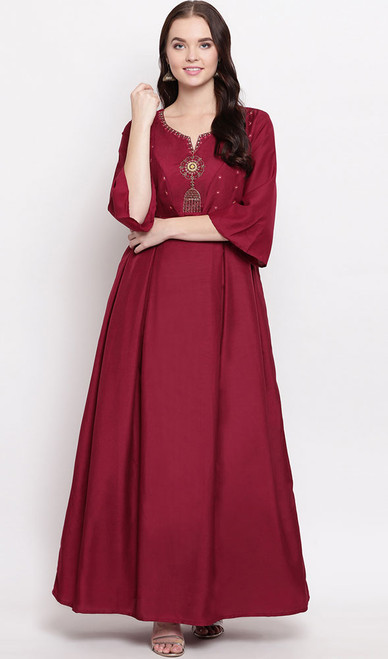 Gown, Maslin Fabric in Red Color Shaded