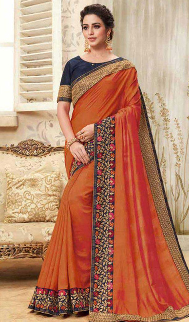Orange Color Shaded Cotton Silk Sari