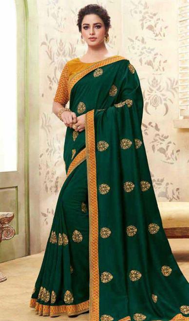 Dark Green Color Shaded Cotton Silk Sari