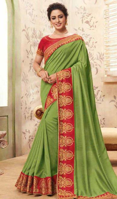 Green Color Shaded Cotton Silk Sari