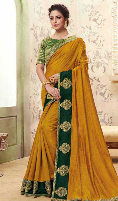 Mustard Color Shaded Cotton Silk Sari