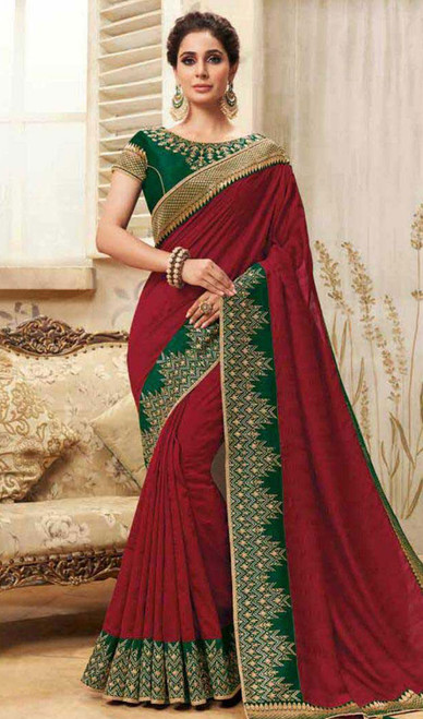 Maroon Color Shaded Cotton Silk Sari