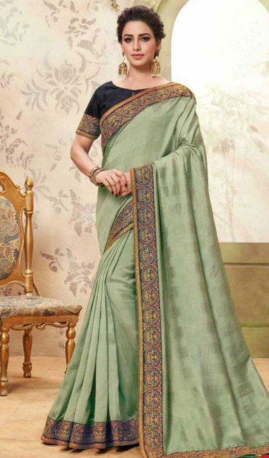 Light Green Color Embroidered Cotton Silk Sari