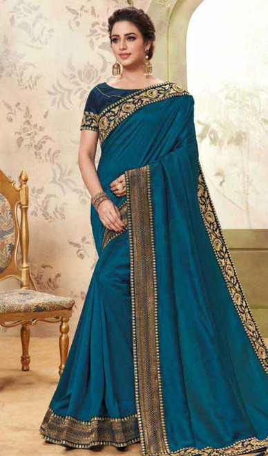 Blue Color Cotton Silk Embroidered Sari