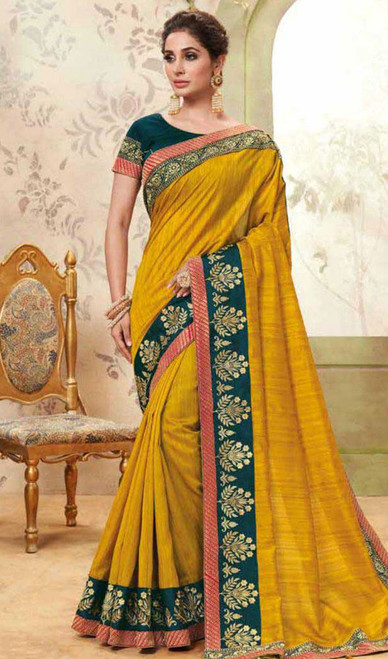 Yellow Color Shaded Cotton Silk Sari