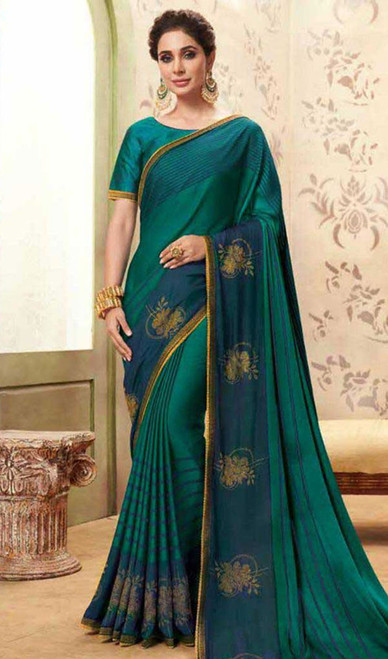 Greenish Blue Color Shaded Cotton Silk Sari