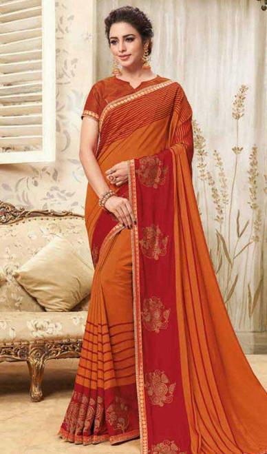 Orange Color Embroidered Cotton Silk Sari