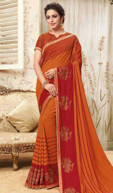 Orange Color Embroidered Cotton Silk Sari