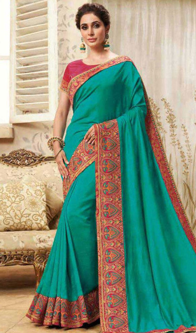 Turquoise Color Shaded Cotton Silk Sari