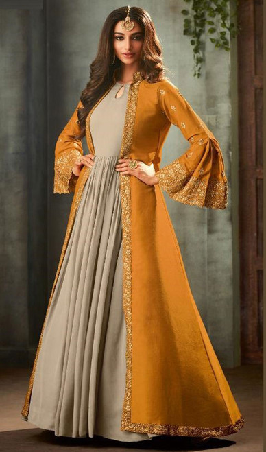Mustard and Gray Color Georgette Anarkali Suit