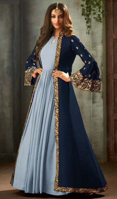 Navy Blue and Gray Color Georgette Anarkali Dress