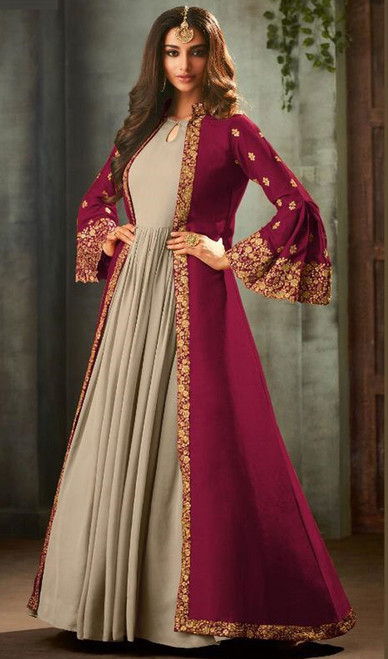 Pink and Gray Color Georgette Anarkali Suit