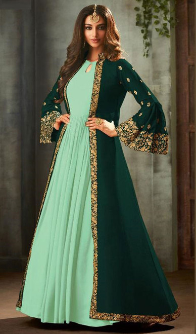 Green and Sea Green Color Georgette Anarkali Dress