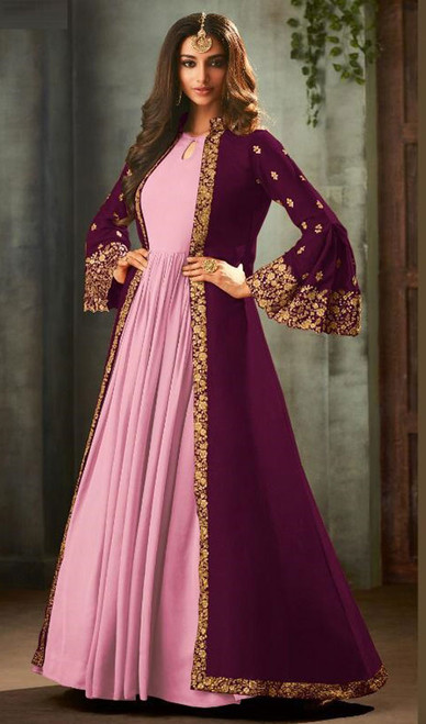 Purple and Pink Color Georgette Anarkali Suit