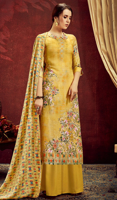 Yellow Color Shaded Pashmina Jacquard Palazzo Suit