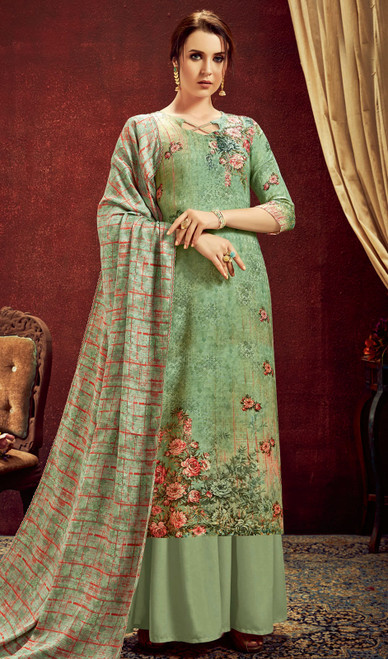 Palazzo Dress in Sea Green Color Shaded Pashmina Jacquard