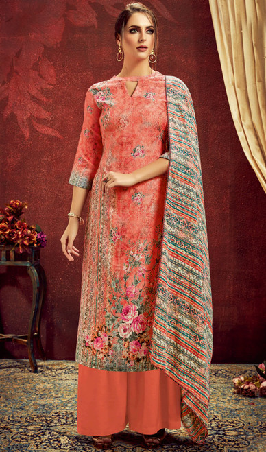 Coral Color Shaded Pashmina Jacquard Palazzo Suit