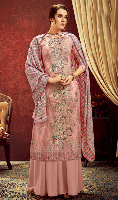 Pink Color Shaded Pashmina Jacquard Palazzo Dress