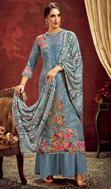 Blue Color Shaded Pashmina Jacquard Palazzo Suit